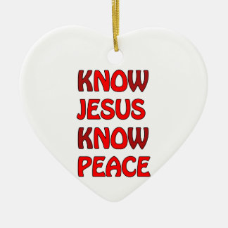 Know Jesus Know Peace No Jesus No Peace In A Red Ceramic Heart Decoration
