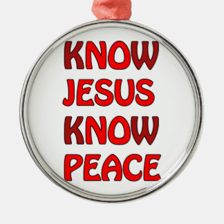 Know Jesus Know Peace No Jesus No Peace In A Red Silver-Colored Round Decoration