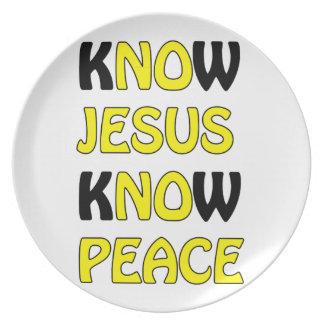 Know Jesus Know Peace No Jesus No Peace In A Yello Plate