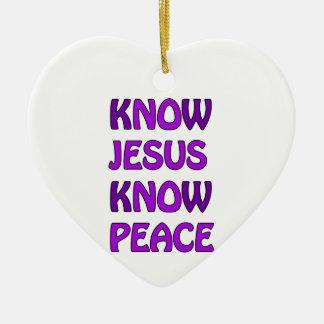 Know Jesus Know Peace No Jesus No Peace In Purple Ceramic Heart Decoration