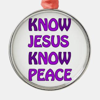 Know Jesus Know Peace No Jesus No Peace In Purple Silver-Colored Round Decoration