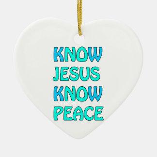 Know Jesus Know  Peace No Jesus No Peace Light Blu Ceramic Heart Decoration
