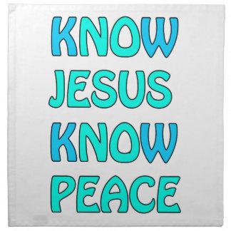 Know Jesus Know  Peace No Jesus No Peace Light Blu Napkin