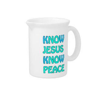 Know Jesus Know  Peace No Jesus No Peace Light Blu Pitcher