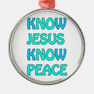 Know Jesus Know  Peace No Jesus No Peace Light Blu Silver-Colored Round Decoration