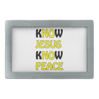 Know Jesus Know Peace No Jesus No Peace Yellow Fon Rectangular Belt Buckle
