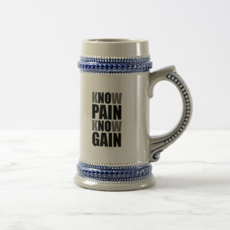 Know Pain Gain Beer Steins