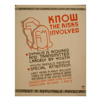 Know The Risks Involved WPA Vintage Poster