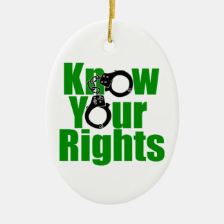 KNOW YOUR RIGHTS - police state/prison/drug war Double-Sided Oval Ceramic Christmas Ornament