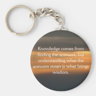 Knowledge comes from... basic round button key ring
