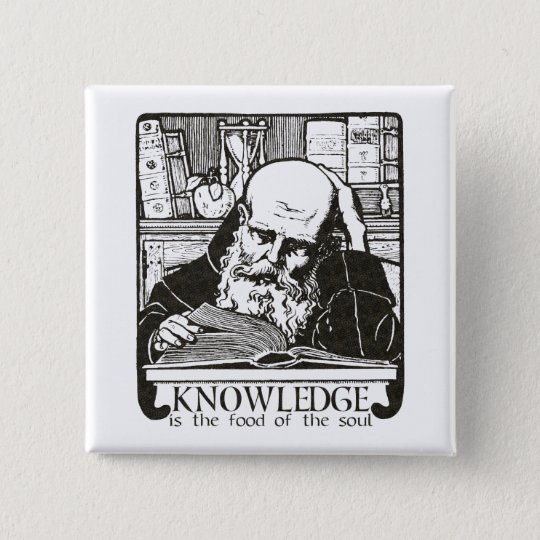Knowledge is Food 15 Cm Square Badge