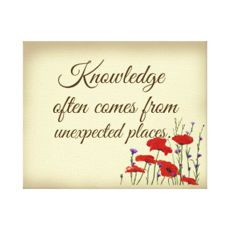Knowledge Quote with Poppies Canvas Print