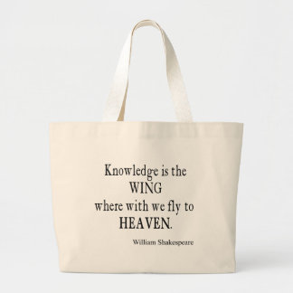 Knowledge Wing Fly to Heaven Shakespeare Quote Jumbo Tote Bag