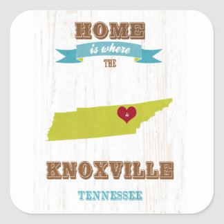 Knoxville, Tennessee Map – Home Is Where Square Sticker