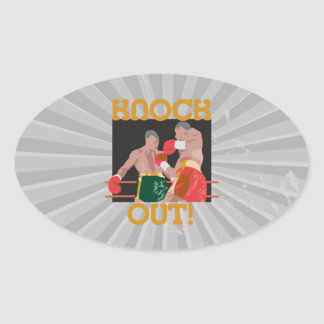 KO knock out boxing vector design Oval Sticker