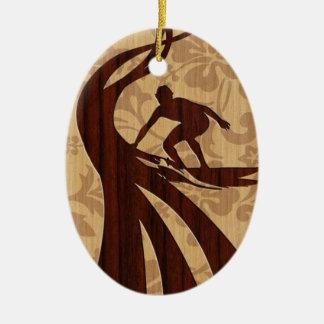 Koa Wood Surfer Surfboard Christmas Ornament