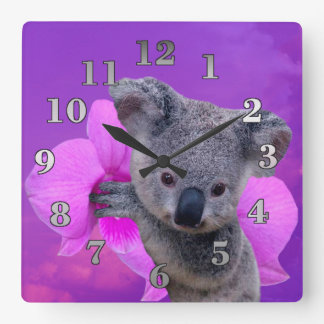 Koala and Orchid Square Wall Clock