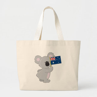 Koala Australian Flag Large Tote Bag
