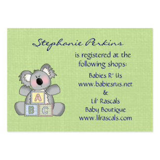 Koala Baby Registry Cards Pack Of Chubby Business Cards