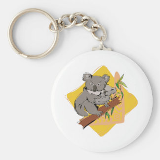 Koala Bear Basic Round Button Key Ring