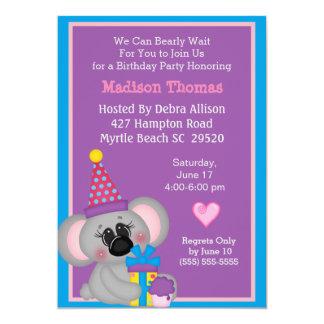 Koala Bear Birthday Invitation