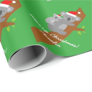 Koala bear custom Merry Christmas wrapping paper