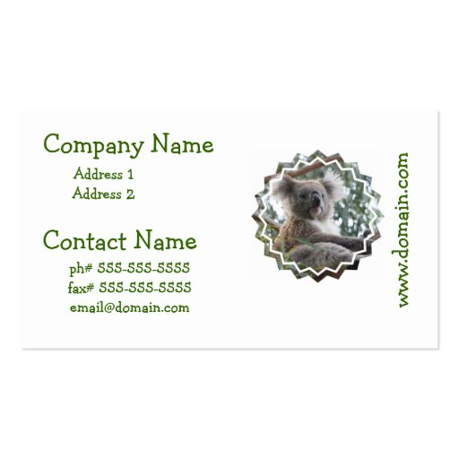 Koala Bear Facts  Business Cards