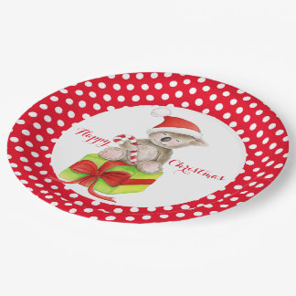 Koala bear Happy Christmas party paper plate