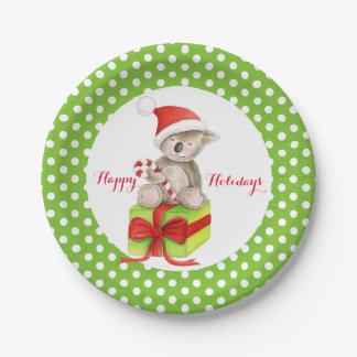 Koala bear Happy Holidays green party paper plate 7 Inch Paper Plate