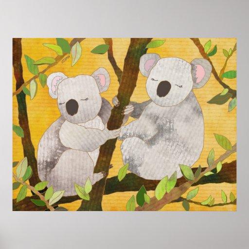 Koala Bears on Tree Branches Poster
