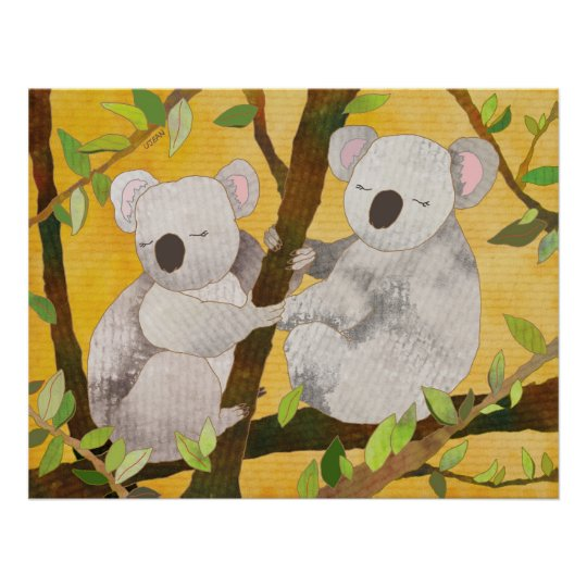 Koala Bears on Tree Branches Poster