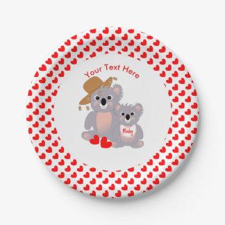 Koala Bears Super Cute Baby Shower Invite Paper Plate