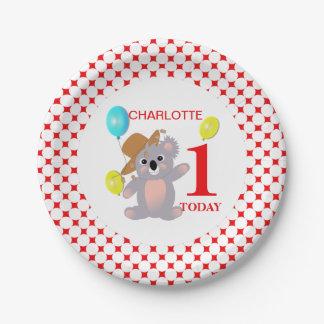 Koala Bears Super Cute Personalized Birthday Paper Plate