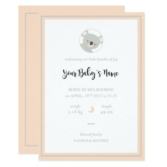 Koala Birth Announcement & Invitation Card