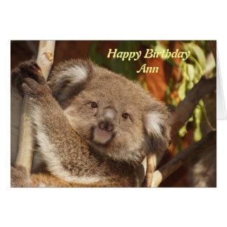 Koala cuddle birthday card