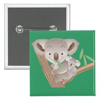 Koala Family 15 Cm Square Badge