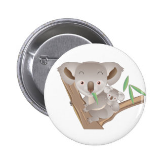 Koala Family 6 Cm Round Badge