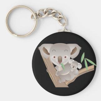 Koala Family Basic Round Button Key Ring