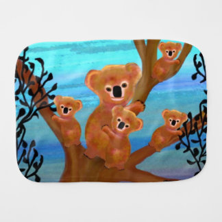 Koala Family Habitat Baby Burp Cloth