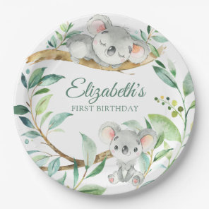 Koala Green and Gray Gender Neutral Baby Birthday Paper Plate