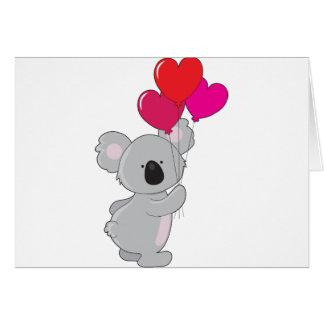 Koala Heart Balloons Card
