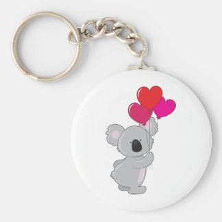 Koala Heart Balloons Basic Round Button Key Ring