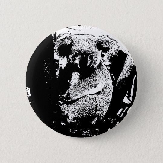 Koala in Black and White 6 Cm Round Badge