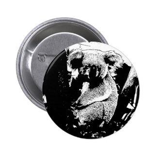 Koala in Black and White 6 Cm Round Badge