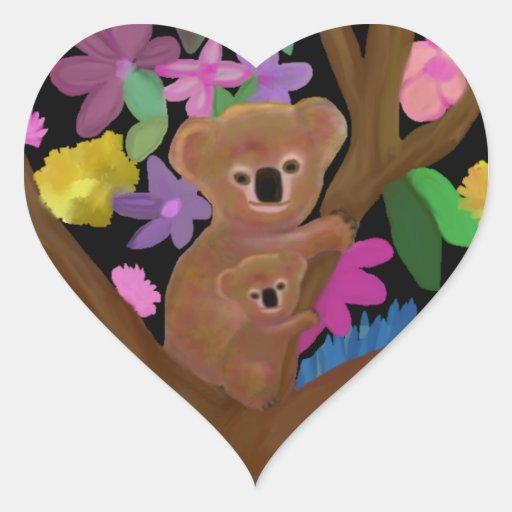 Koala Luv Heart Stickers