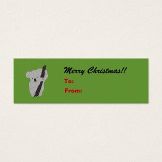 Koala Merry Christmas Holiday Gift Tag Mini Business Card