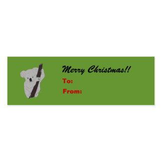 Koala Merry Christmas Holiday Gift Tag Pack Of Skinny Business Cards