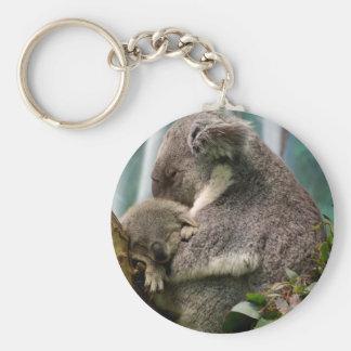 Koala Mom and New Baby Basic Round Button Key Ring