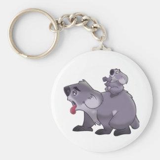 Koala Mom Basic Round Button Key Ring