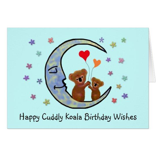 Koala Moon Birthday Wishes Card
